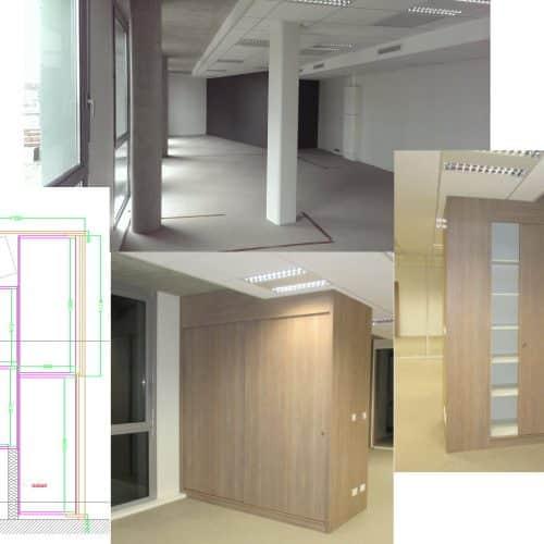 Projet VVS/ LYON7 : Agencement sur mesure : placard habillant les poteaux de structure
