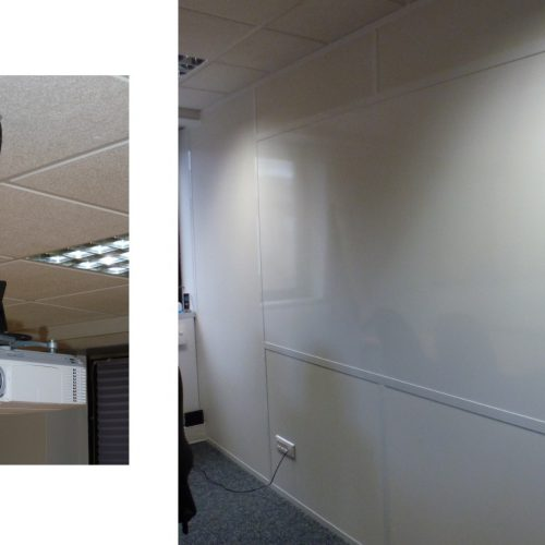 Projet VAL SOLUTIONS /LYON 7 : Projection sur panneau blanc (projection - ecrriture et magnetique) / Projecteur au centre au plafond